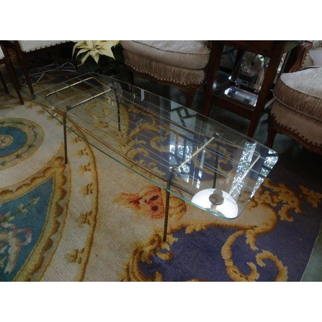 Gold Italian Gio Ponti Inspired Brass and Glass Coffee Table For Sale - Image 8 of 13