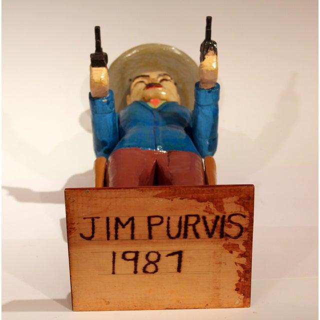 Old Folk Art Figurine of Gunslinger Western Cowboy Gambler For Sale - Image 9 of 11