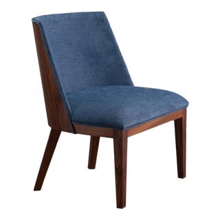 Ebb and Flow Nola Accent Chair in Navy Blue Linen For Sale