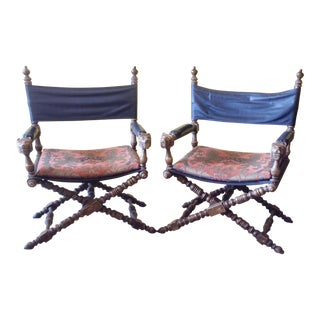 Pair of Anglo - Indian Campaign or Safari Style Armchairs For Sale