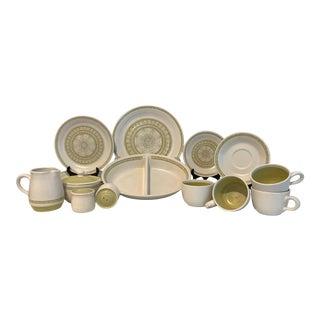 Mid-Century Modern Hacienda Green Franciscan Dinnerware Set- 25 Pieces For Sale