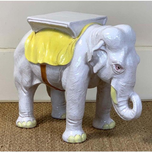 Ceramic Italian Glazed Ceramic Elephant Garden Seat For Sale - Image 7 of 13