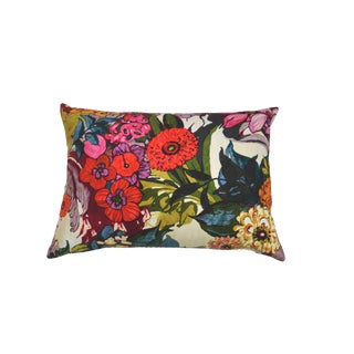 Secret Garden Blue Velvet Back Lumbar Pillow