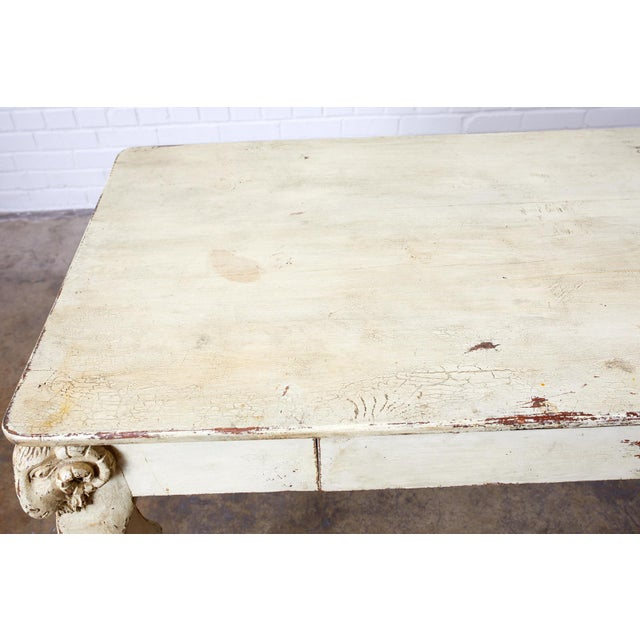 Rustic Italian Lacquered Ram's Head Motif Writing Table For Sale In San Francisco - Image 6 of 13