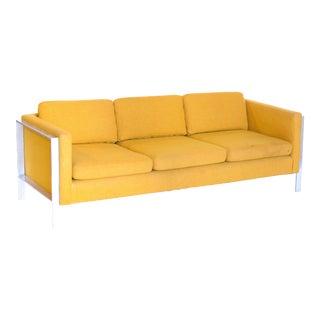 1950s Vintage Milo Baughman Chrome and Linen Sofa For Sale