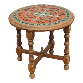 Vintage Monterey Style Orange & Blue Tiled Side Table ~ End Table French Country For Sale
