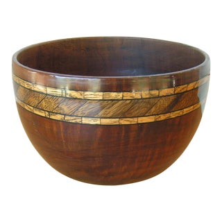Vintage Marquetry Wood Inlay Bowl For Sale