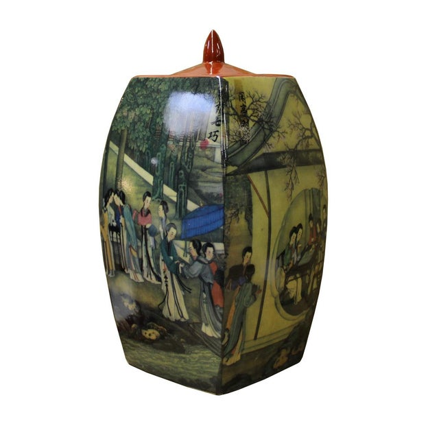 Chinoiserie Chinese Court House Ladies Porcelain Ginger Jar For Sale - Image 3 of 6