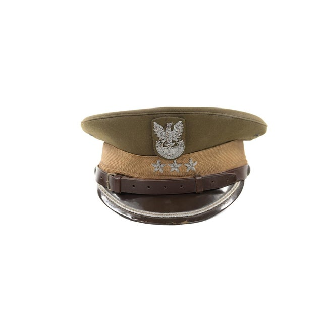 Vintage Polish 3 Stars Military Officer Hat - Image 2 of 9