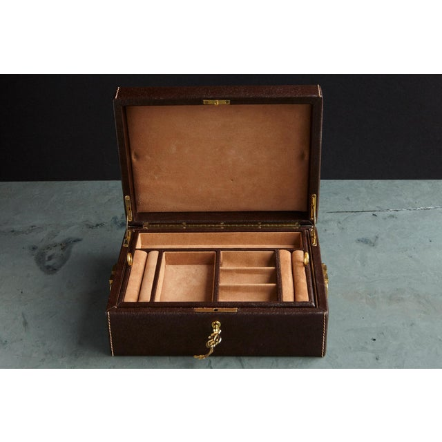Mark Cross Mark Cross Leather Brown Leather Jewelry Box From the Collection of Ann Turkel For Sale - Image 4 of 13