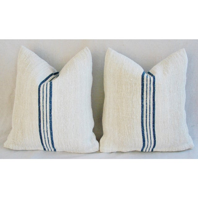 Blue Striped French Grain Sack Pillows - A Pair - Image 7 of 11