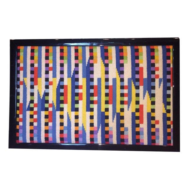 Vintage Needlepoint Geometric Op Art - Image 1 of 5