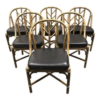McGuire Bamboo + Leather Chairs - Set of 6 For Sale