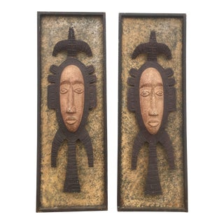 Metal Tribal Wall Sculptures - A Pair For Sale