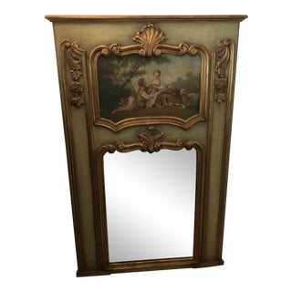 Gilt Frame Oil on Board Painting Scene Tending to the Sheep Trumeau Mirror For Sale