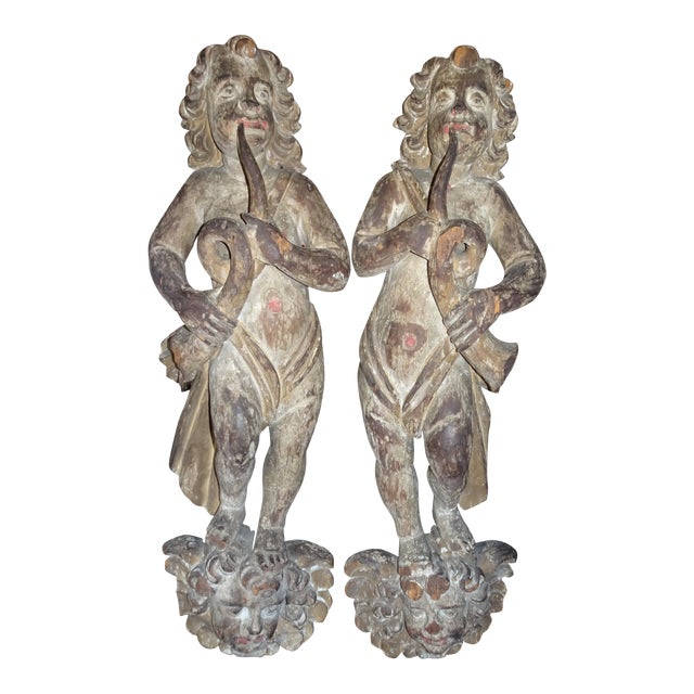 Pair of 18th Century French Architectural Cherubs For Sale