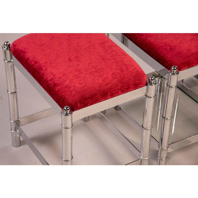 Italian Hollywood Regency Nickel Plated Faux Bamboo Stools - a Pair For Sale - Image 4 of 12