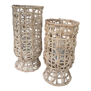 Pair of Handcrafted Wicker Hurricane Lanterns For Sale