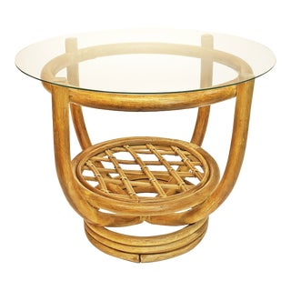 Mid Century Boho Chic Bamboo Side Table With Glass Top