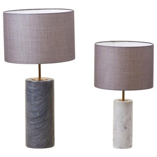 Pair of Table Lamps in White and Grey Marble, Germany For Sale