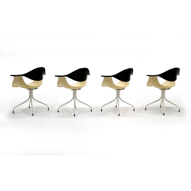 Mid-Century Modern 1950s Vintage George Nelson Swag Leg Model Daf Chairs- Set of 4 For Sale - Image 3 of 10