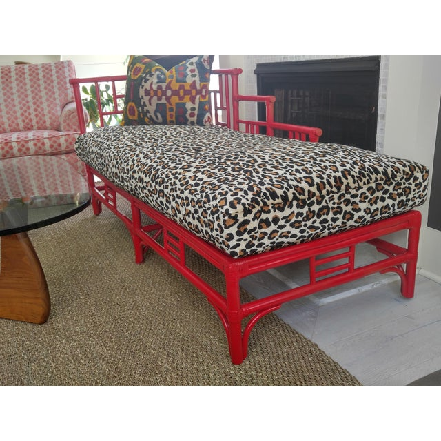 Chinese Chippendale Rattan Chaise For Sale - Image 4 of 10