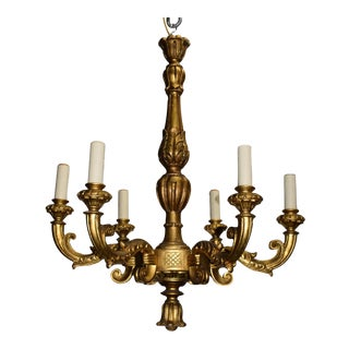 Antique chandelier, gilt wood For Sale