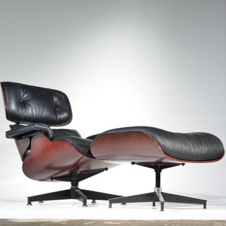 Charles and Ray Eames Cherry and Leather 670 Lounge Chair and 671 Ottoman Preview