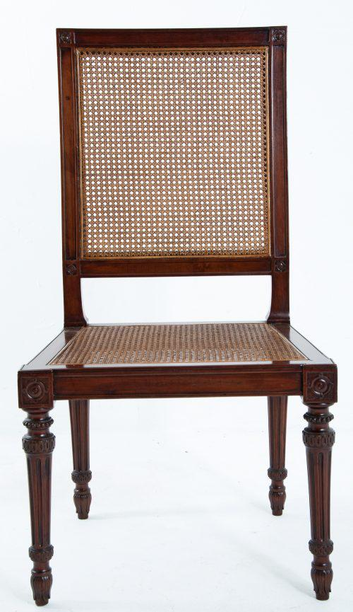 A Large Scale Pair Of Italian Fruitwood Louis XVI Side Chairs Made In The  North About