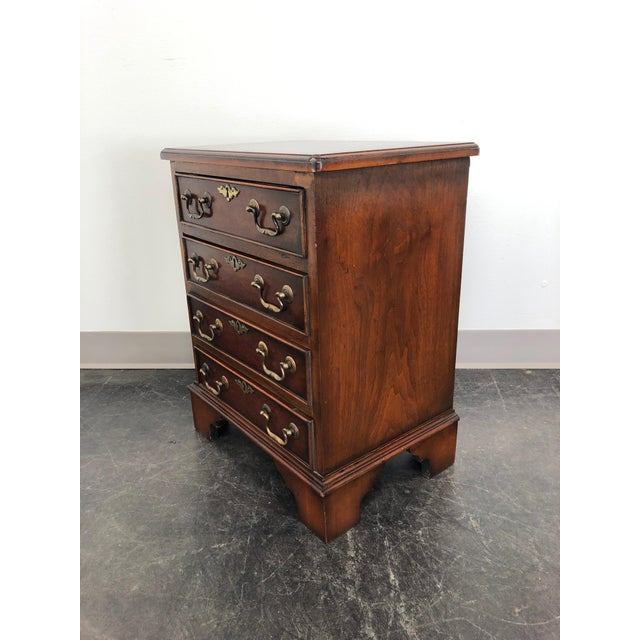 Metal Diminuitive Burl Walnut Chippendale Style Chest / Nightstand For Sale - Image 7 of 9