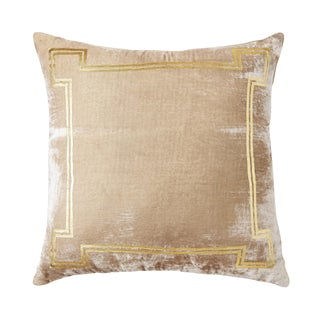 Aria Taupe Silk Velvet Pillow With Gold Foil Accents For Sale
