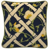 Image of 1960s Blue, Green, and White Bamboo Motif Needlepoint Pillow For Sale
