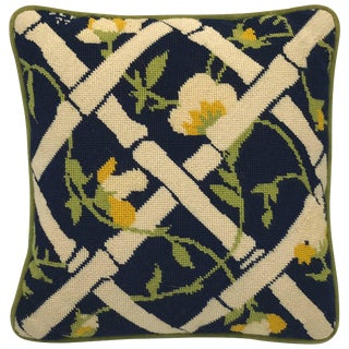 1960s Blue, Green, and White Bamboo Motif Needlepoint Pillow For Sale