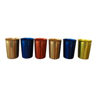 Blue Red Gold and Yellow Mid-Century Aluminum Tumblers - Set of 6 For Sale