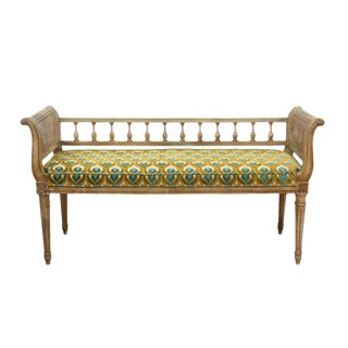 1970s Vintage Louis XVI Style Caned Bench For Sale