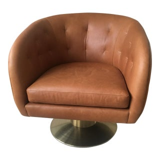 West Elm Tufted Pedestal Leather Swivel Chair