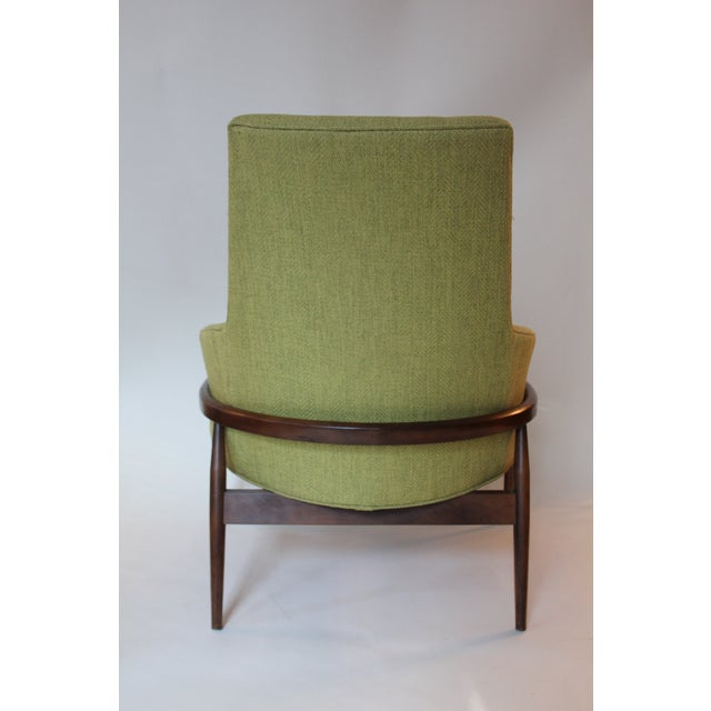 Mid-Century Modern Mid-Century Modern Chartreuse Upholstered Walnut Side Chair For Sale - Image 3 of 7