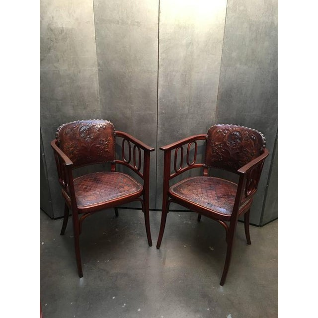 Pair of Josef Hoffman Bent Beechwood and Hand Tooled Leather Armchairs - Image 2 of 10
