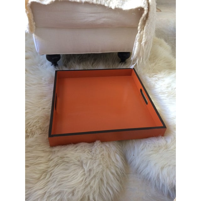 Bamboo Mid-Century Modern Hermès Inspired Orange Lacquer Tray For Sale - Image 7 of 11