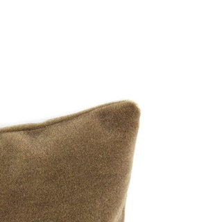 "Maharam Mohair Supreme in Stonehenge Lumbar Pillow Cover - 12"" X 20"" Solid Stone Brown Mohair Velvet Rectangle Cushion Case Preview"