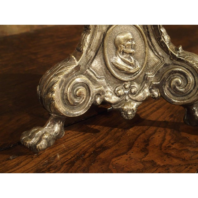 Bronze Antique Silvered Bronze Candlestick from France, Early 1800s For Sale - Image 7 of 11