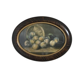 Antique Still Life Print in Oval Frame With Convex Bubble Glass For Sale