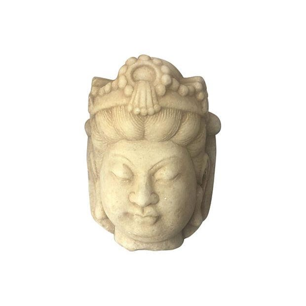 Carved Marble Quan Yin Head - Image 1 of 4