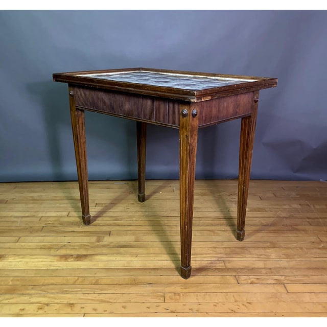 Late 19th Century 19th Century Louis XVI Style Table, Manganese Faiance Tiles For Sale - Image 5 of 10