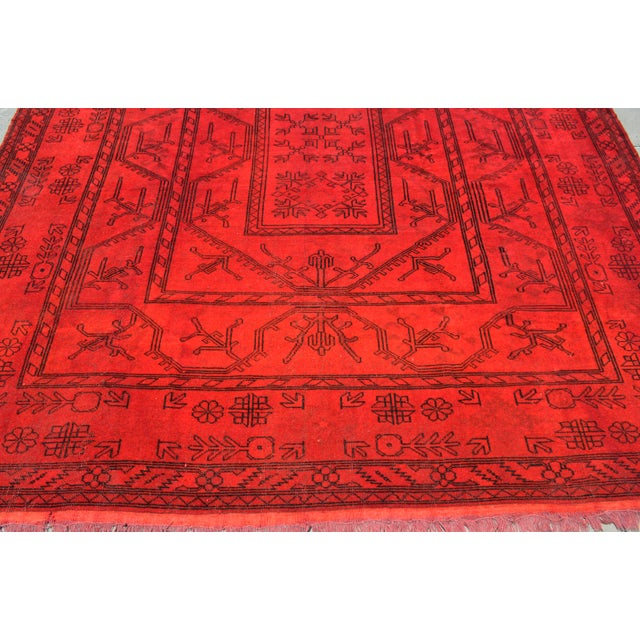 Textile Turkish Hand-Knotted Red Overdyed Rug - 8′5″ X 11′8″ For Sale - Image 7 of 9