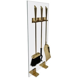 Brass and Glass Fireplace Tools Set For Sale