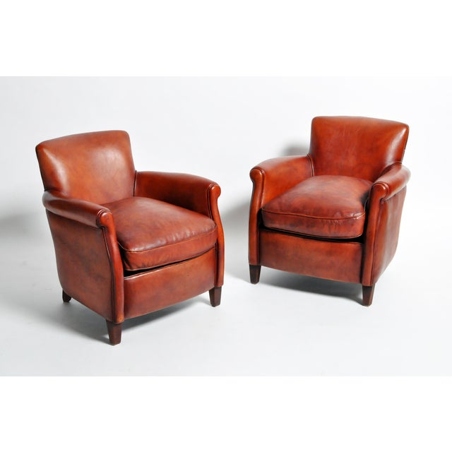 French French Leather Armchairs - a Pair For Sale - Image 3 of 13