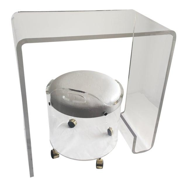 Charles Hollis Jones Vanity Table Desk & Round Stool For Sale