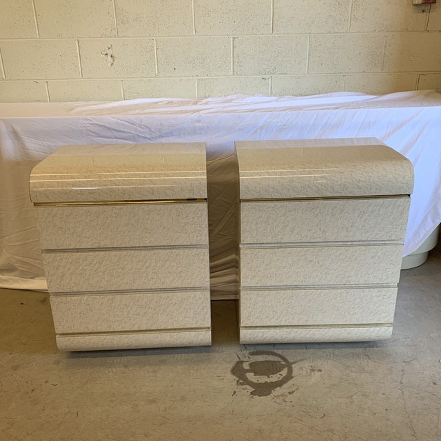 Post Modern Laminate Brass Nightstands -A Pair For Sale - Image 10 of 10