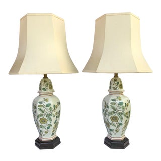 Maitland-Smith Chinoiserie Temple Jar Lamps - Pair For Sale